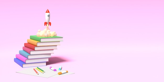 De speelgoedraket stijgt van de boeken op die rook op een roze achtergrond spuwen. symbool van verlangen naar onderwijs en kennis. school illustratie. 3d-weergave.