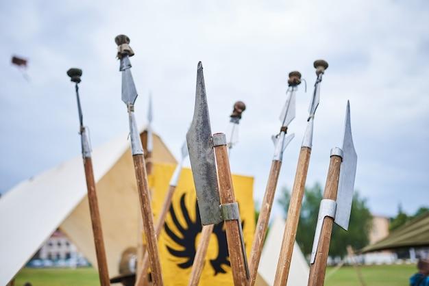 De speren van de barbaren op de plank
