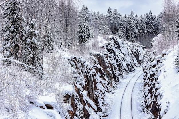 De spoorlijn passeert in een holle snede in de rots republiek karelië rusland