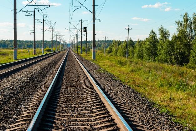 De spoorweg volgt close-up op de bosachtergrond