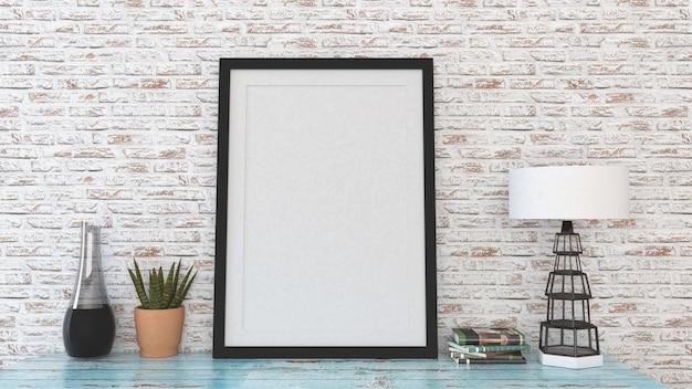 De spot op affichekader met binnenlandse 3d achtergrond, geeft terug