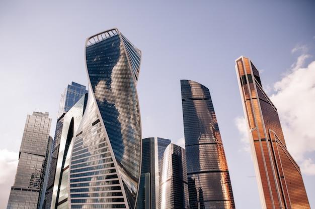 De stadsmening van moskou van wolkenkrabbers moskou internationaal commercieel centrum