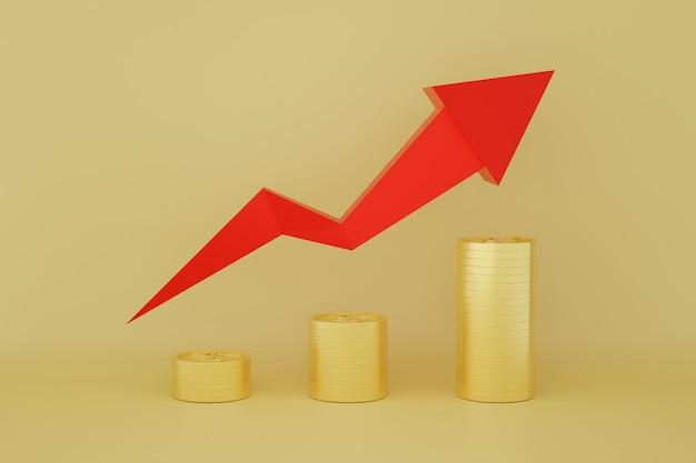 De stapel van dollarmuntstukken met rode pijllijngrafiek en stijgende grafiek op geel goud