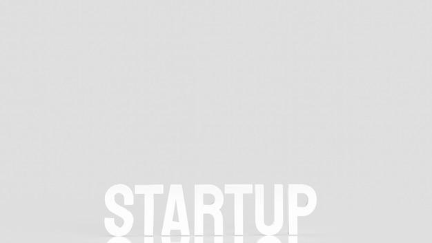 De start witte tekst voor bedrijfsconcept 3d-rendering