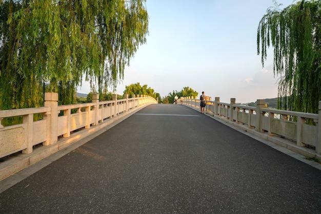 De stenen boogbrug in het park is in nanjing xuanwu lake park, china
