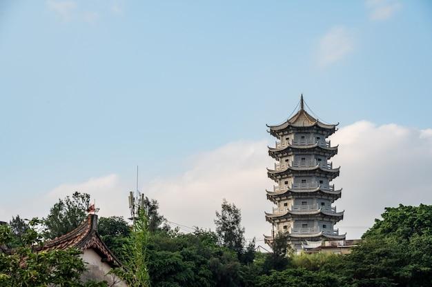 De stenen toren staat op de berg