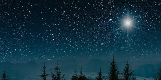 De ster geeft de kerst van jezus christus aan.