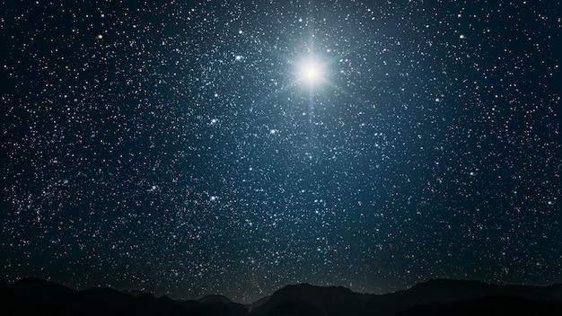 De ster schijnt over de kerststal van jezus christus