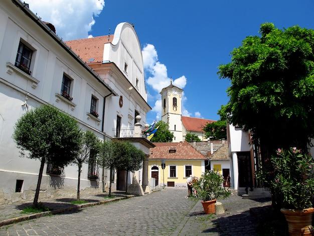 De straat in szentendre-stad in het land van hongarije