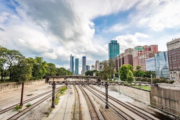 De straatmening van chicago in een bewolkte dag