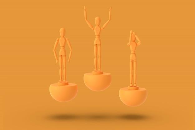 De stuk speelgoed drie mens van oranje kleur op een 3d sporten abstract voetstuk geeft terug