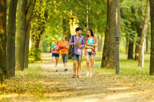 De succesvolle groep studenten met boeken in het park on a sun