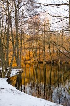 De svisloch-rivier stroomt in minsk en creëert schilderachtige plekjes. wit-rusland.