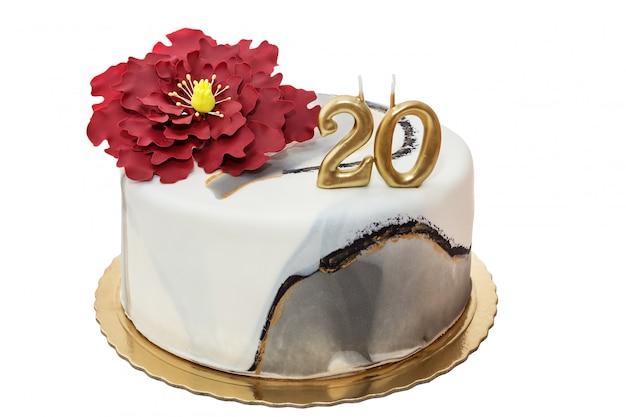 De taart voor het jubileum. cijfer is twintig.