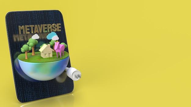 De tafel en aarde voor metaverse voor technologie of vr-concept 3d-rendering