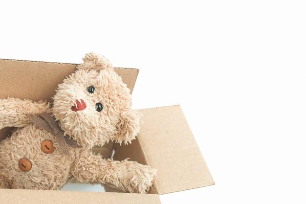 De teddybeer speelt kartondoos