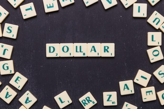 De tekst van de dollar die op een rij over zwarte achtergrond wordt geschikt