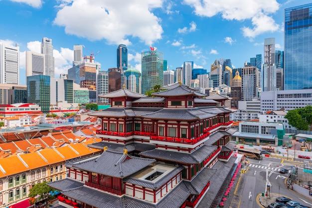 De tempel van het de tandoverblijfsel van boedha bij de stad van china, singapore.