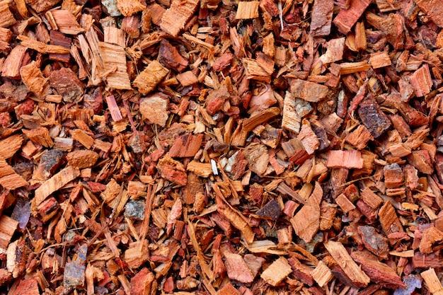 De textuur van de gemalen eiken schors
