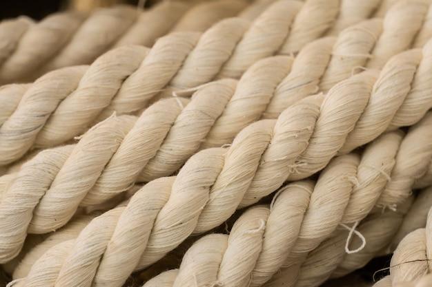 De textuur van dik wit vlaskoord