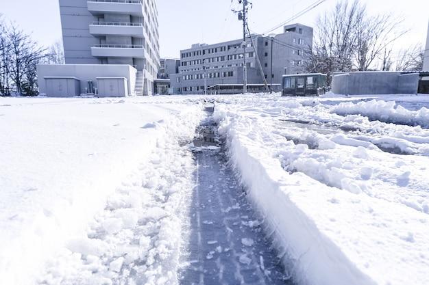 De textuur van het autobroodje op sneeuw