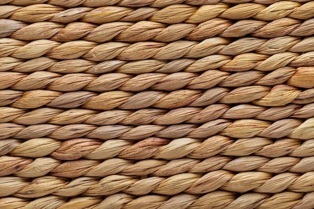 De textuurachtergrond van de close-up rieten mand. natuurlijke vezels.
