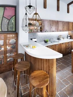 De toog in de loftstijl van de keuken en de houten bar