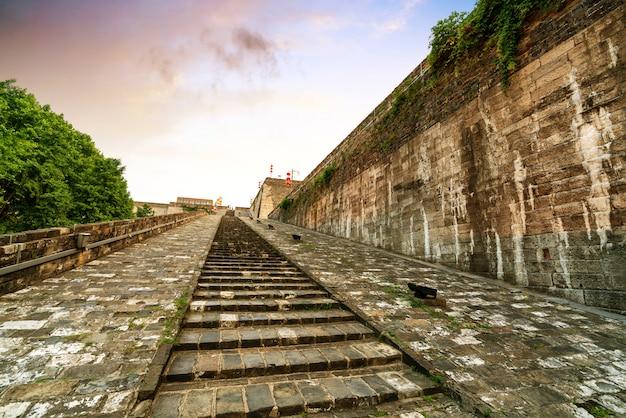 De traditionele architectuur van de de stadsmuur van nanjing de oude