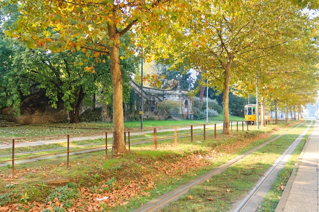 De tram van milaan in perspectief tijdens het herfstseizoen