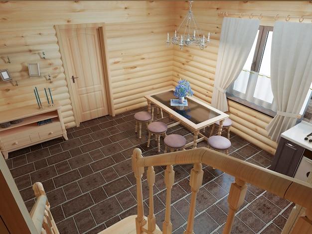 De trap in het interieur van de keuken, eetkamer, blokhut