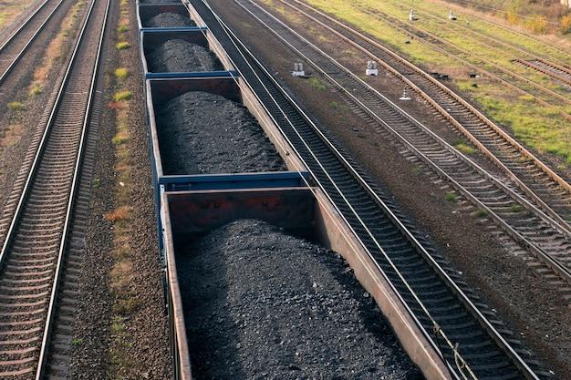 De trein wagens met kolen