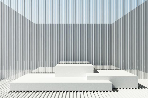 De tribune van het witte cementproduct met de achtergrond van het witmetaalblad