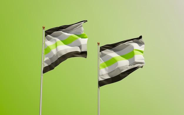 De trotsvlaggen van agender op kleurenachtergrond