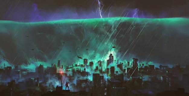 De tsunami staat op het punt de stad te vernietigen, fantasieillustratie.