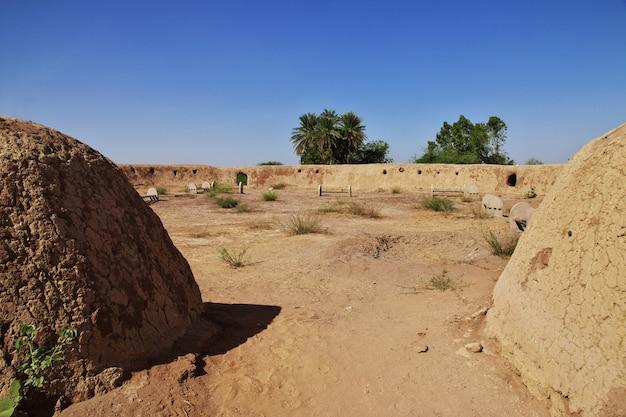 De tuin in het kleine dorp aan de rivier de nijl, khartoem, soedan