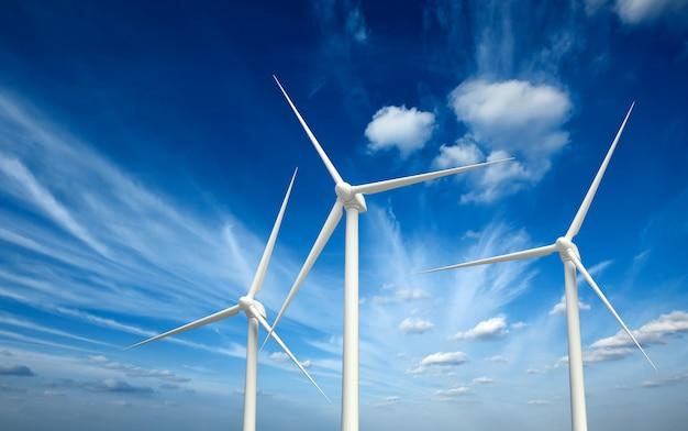 De turbines van de windgenerator in hemel