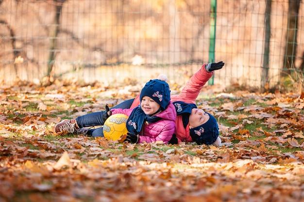 De twee kleine baby meisjes spelen in herfstbladeren