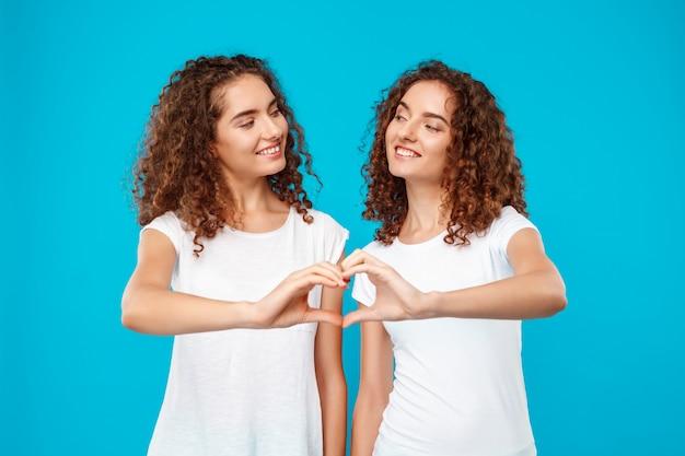De tweeling die van twee vrouw hart tonen met overhandigt blauw.