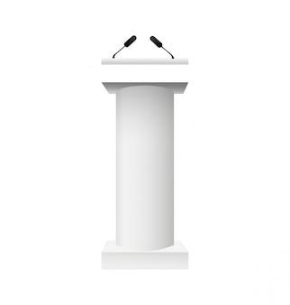 De vector witte tribune van de podiumtribune met geïsoleerde microfoons