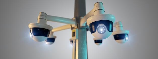 De veiligheidscctv camera van de straat die bij het 3d teruggeven wordt geïsoleerd