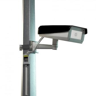 De veiligheidscctv camera van de straat die op een achtergrond wordt geïsoleerd - het 3d teruggeven