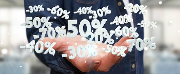 De verkooppictogrammen van de zakenmanholding in zijn hand het 3d teruggeven