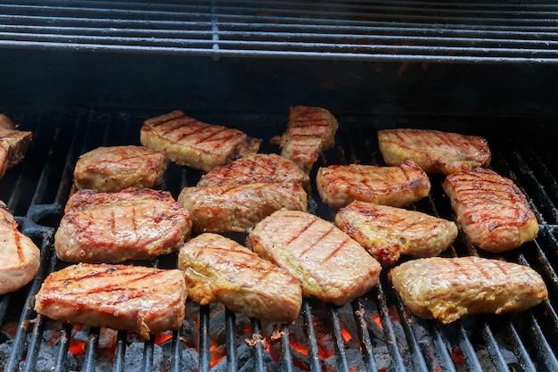 De verse hete geroosterde barbecue van de kippenkebab op net over