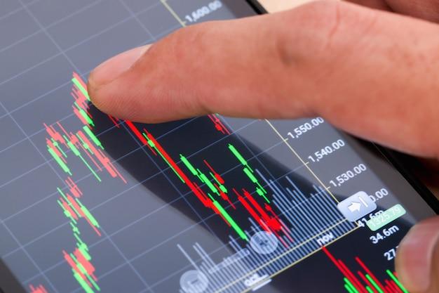 De vinger van een man raakt het scherm van een telefoon aan die naar aandeleninformatie kijkt