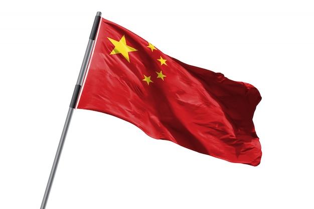 De vlag die van china tegen wit achtergrondvoorraadbeeld golven