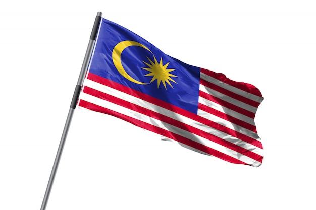 De vlag die van maleisië tegen wit achtergrondvoorraadbeeld golven