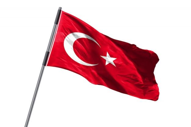 De vlag die van turkije tegen wit achtergrondvoorraadbeeld golven