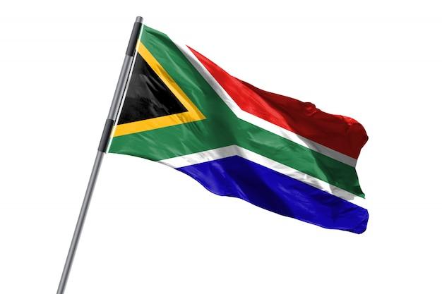 De vlag die van zuid-afrika tegen wit achtergrondvoorraadbeeld golven