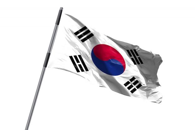 De vlag die van zuid-korea tegen wit achtergrondvoorraadbeeld golven
