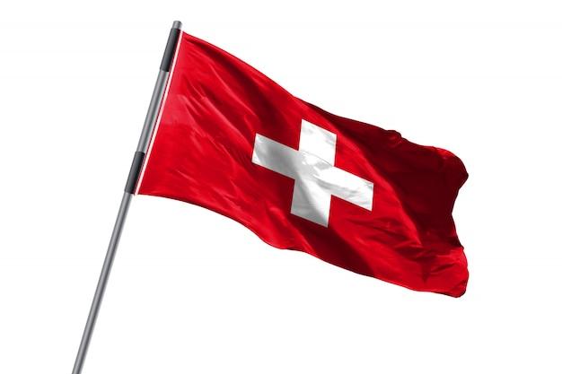 De vlag die van zwitserland tegen wit achtergrondvoorraadbeeld golven
